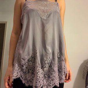 Silk and lace tank top